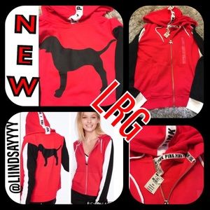 NWT‼️VSPINK PERFECT FULL-ZIP DOG COLOR-BLOCK LRG❣️